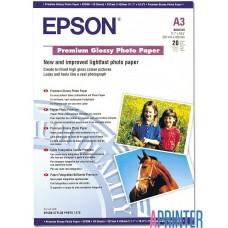 Бумага Epson Premium Glossy Photo Paper A3 c глянцевым покрытием, 20 листов в упаковке плотность 255 гр/м2, размер 297 х 420 мм